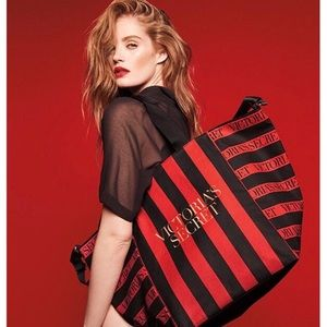 Victoria's Secret Red Stripe Weekender Tote
